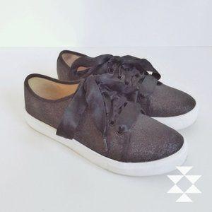 Black Glitter Ribbon Casual Sneakers Women 9